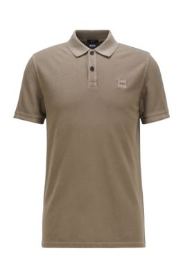 Slim-fit polo shirt in washed cotton piqué, Khaki