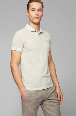 Slim-fit polo shirt in washed cotton piqué, Light Beige