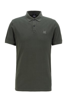 Slim-fit polo shirt in washed cotton piqué, Light Green