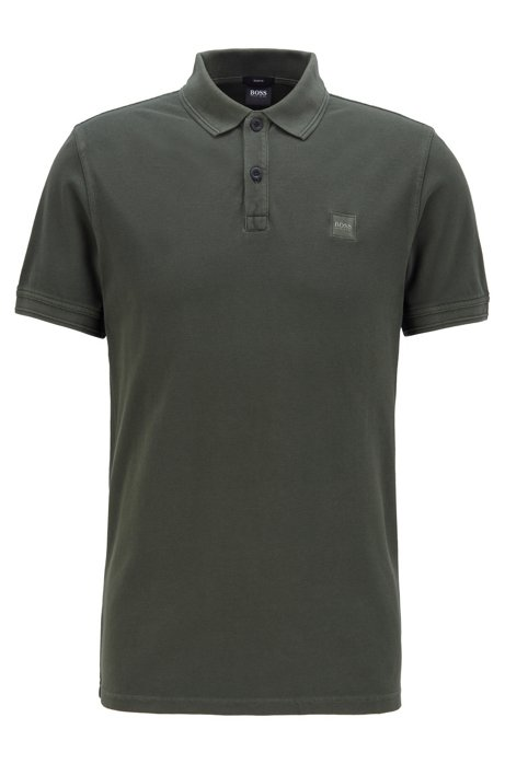 Slim-fit polo shirt in washed cotton piqué, Open Green