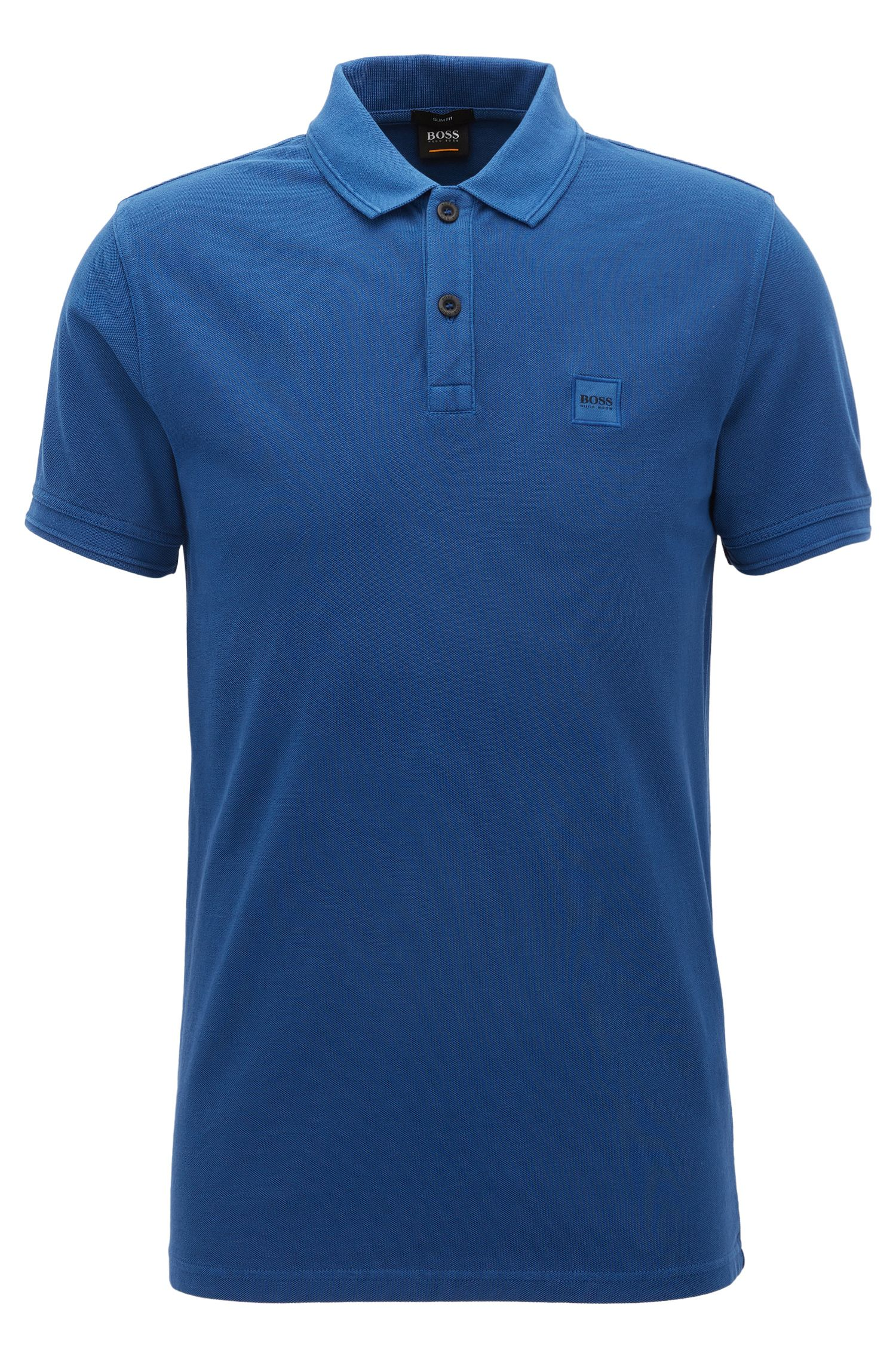 Piped Cotton Polo Shirt, Slim Fit   Prime