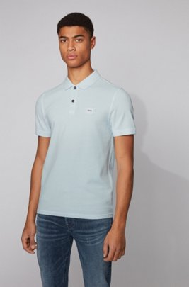 Slim-fit polo shirt in washed cotton piqué, Light Blue