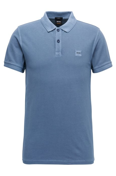 Slim-fit polo shirt in washed cotton piqué, Open Blue