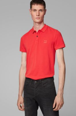 ee35e3b625dbe Slim-fit polo shirt in washed cotton piqué