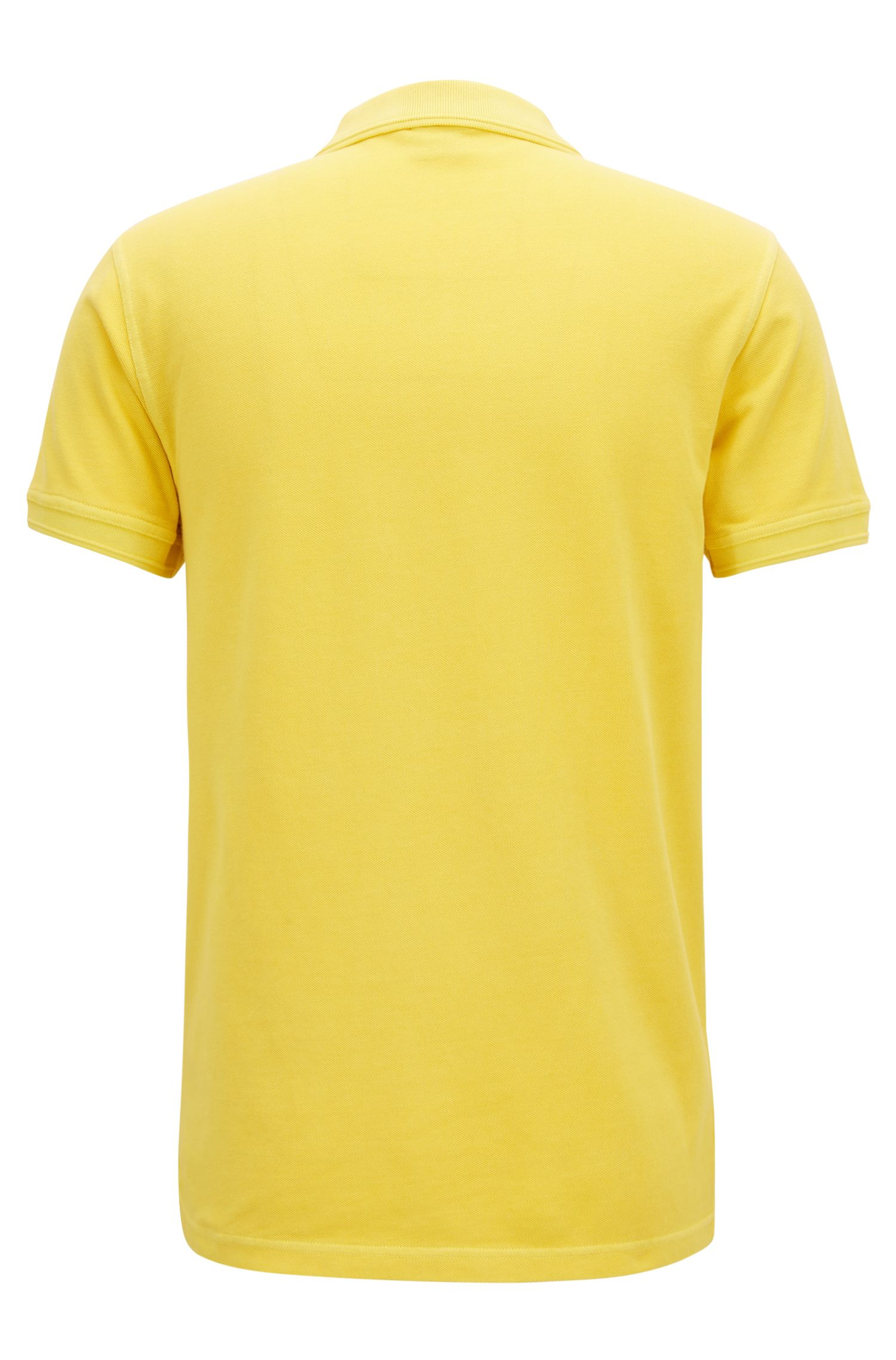Slim-fit polo shirt in washed cotton piqué, Yellow