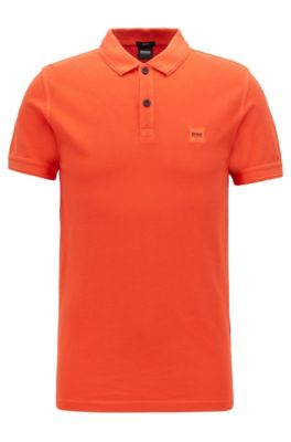 Slim-fit polo shirt in washed cotton piqué, Open Orange