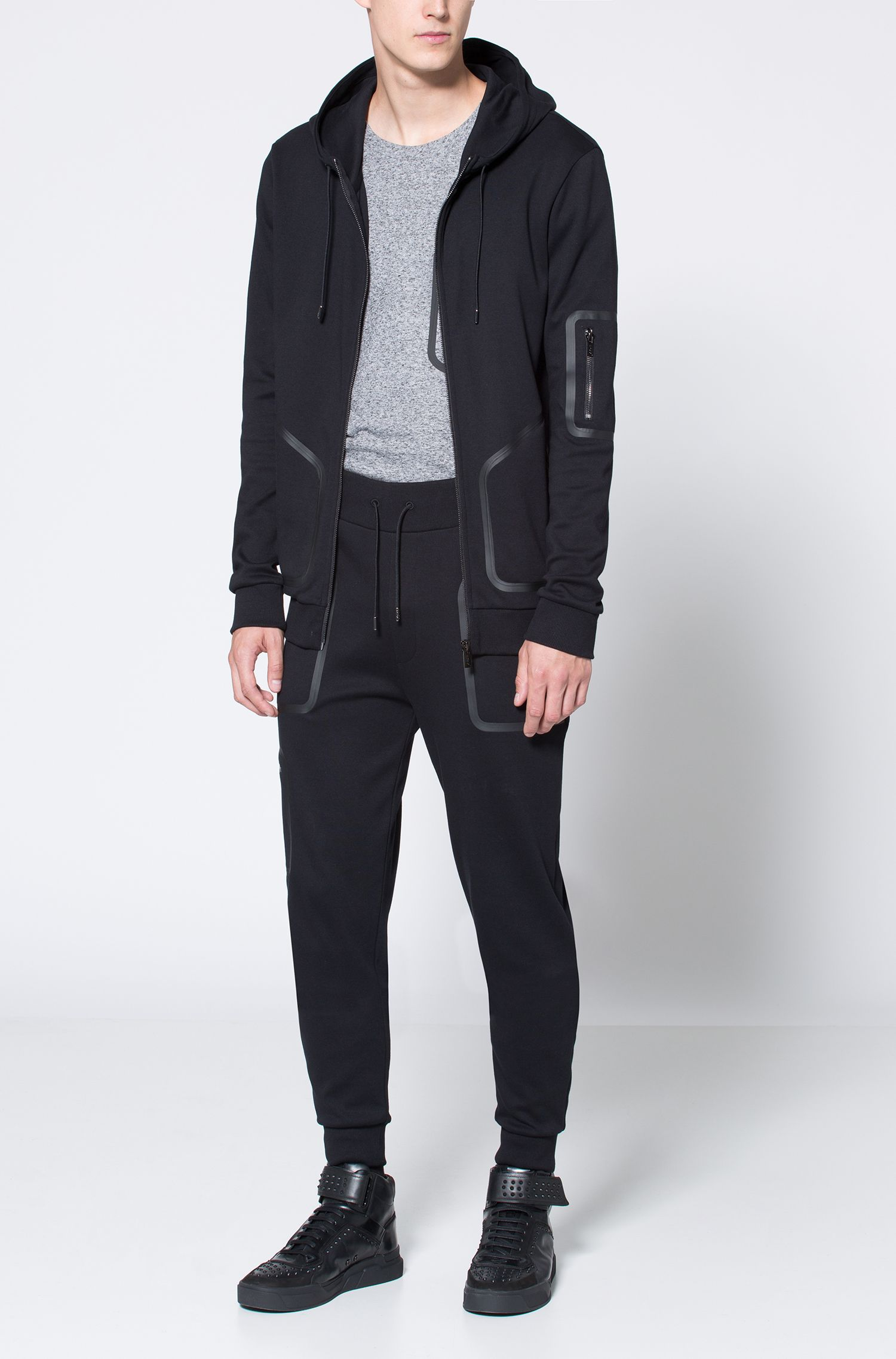 Rubber-Taped Cotton Hoodie | Deatty , Black
