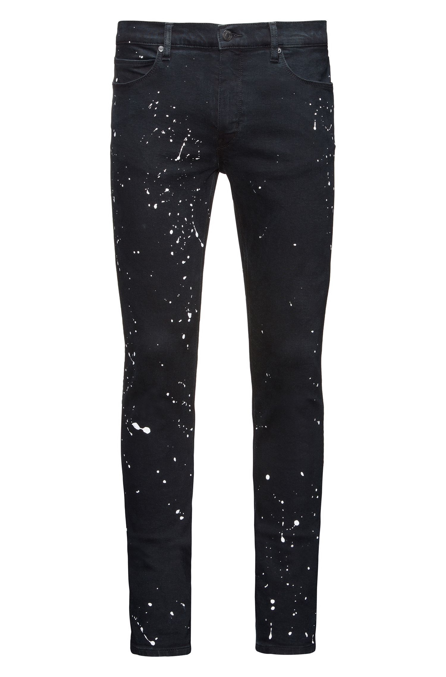 Paint-Splattered Stretch Cotton Jeans, Skinny Fit | Hugo 734