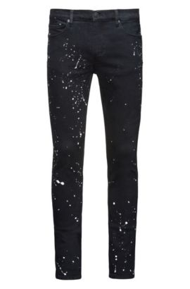 Paint-Splattered Stretch Cotton Jeans, Skinny Fit | Hugo 734, Black
