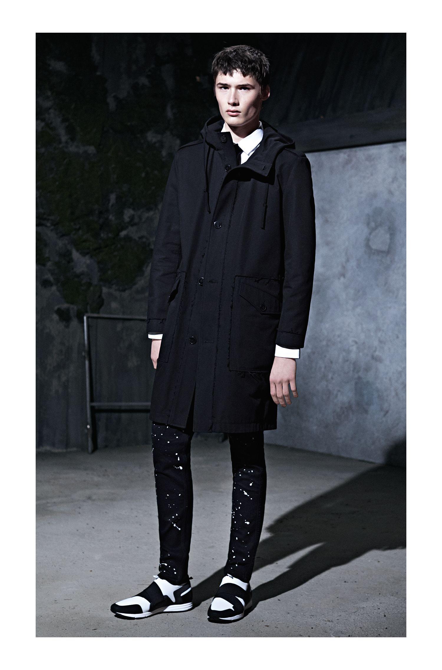 Paint-Splattered Stretch Cotton Jean, Skinny Fit | Hugo 734, Black