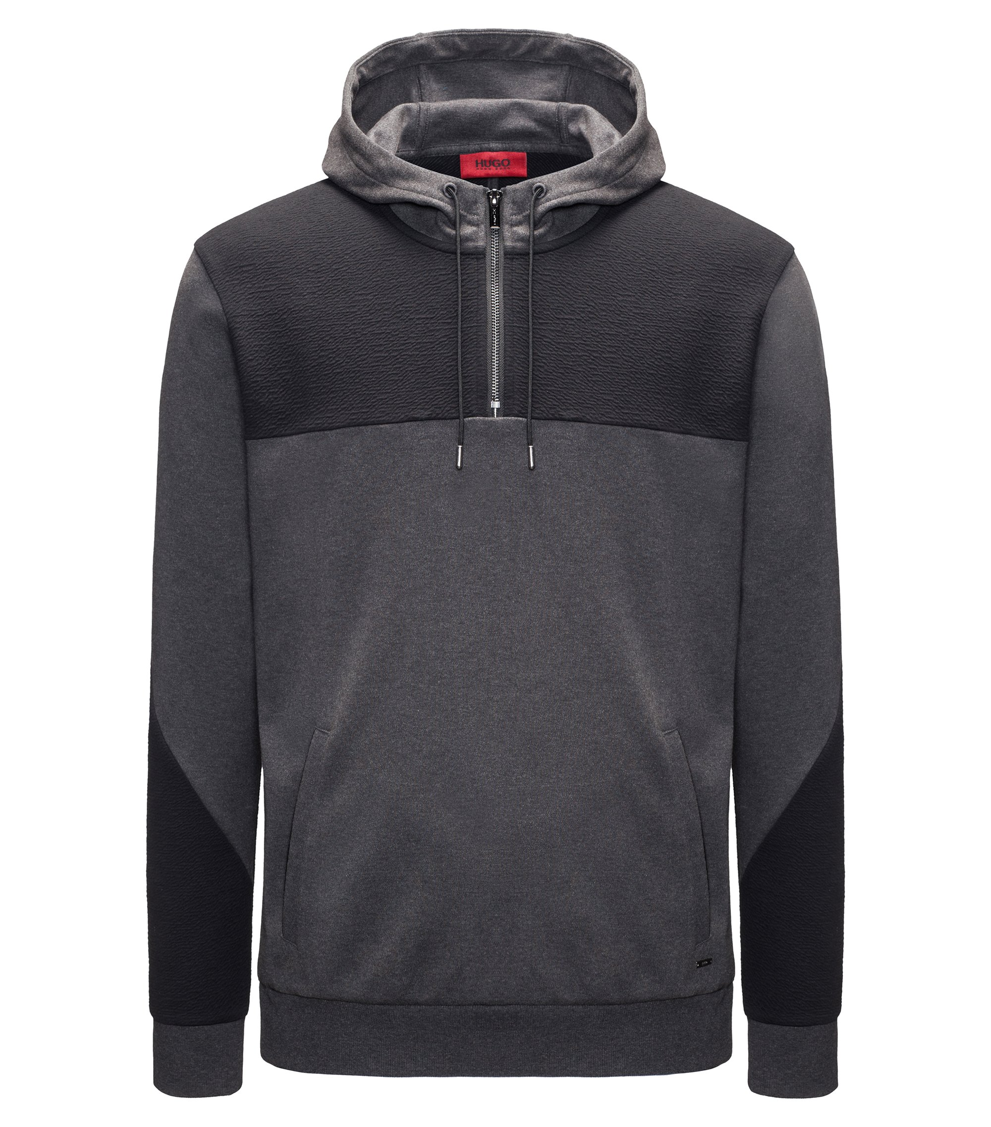 Two-Tone Jersey Cotton Hoodie | Dason, Dark Grey