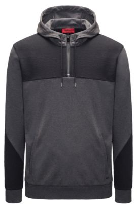 Two-Tone Jersey Cotton Hoodie   Dason, Dark Grey