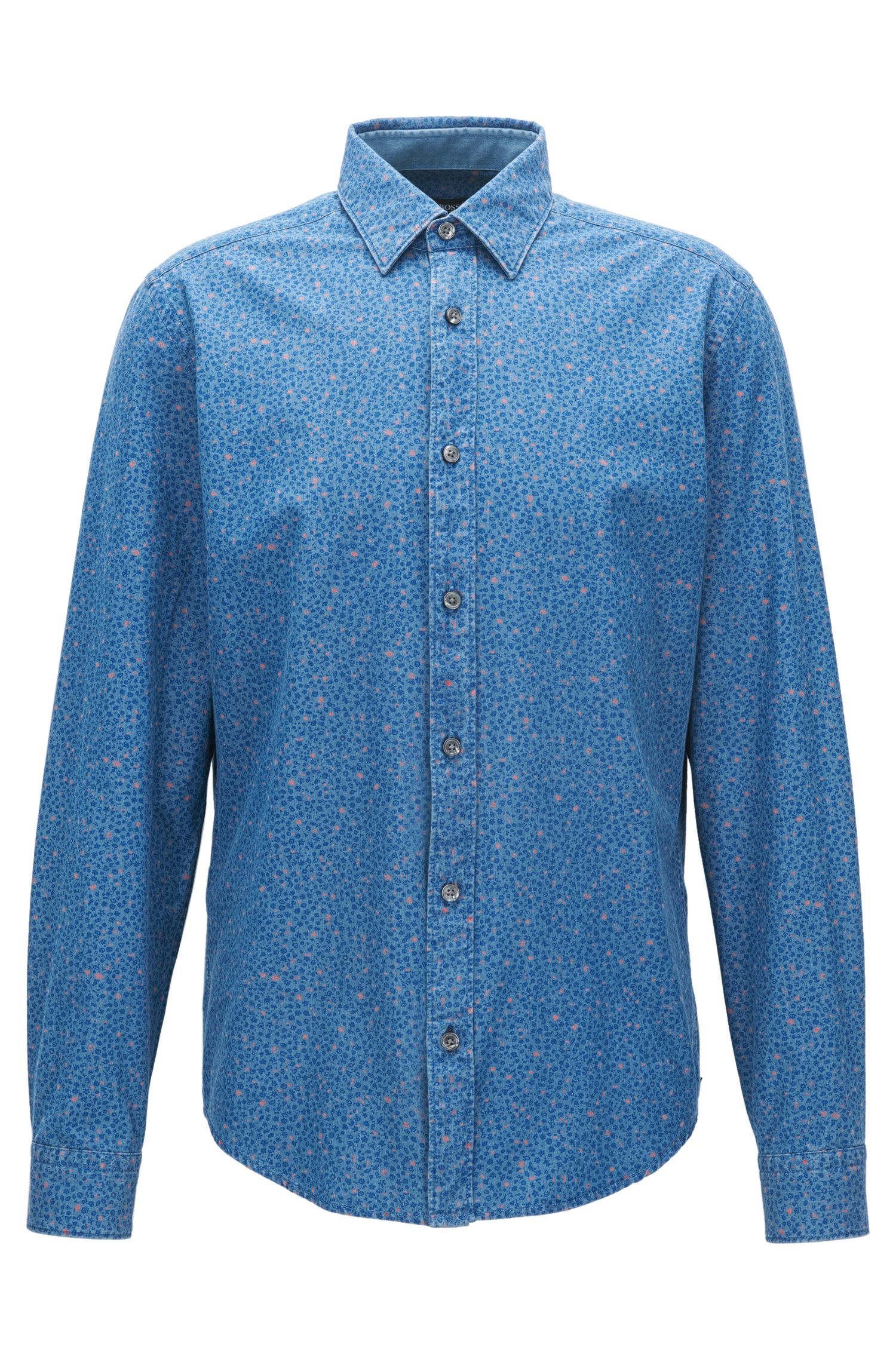 Abstract-Patterned Cotton Sport Shirt, Slim Fit | Lance