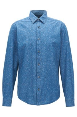 Abstract-Patterned Cotton Sport Shirt, Slim Fit | Lance, Light Blue
