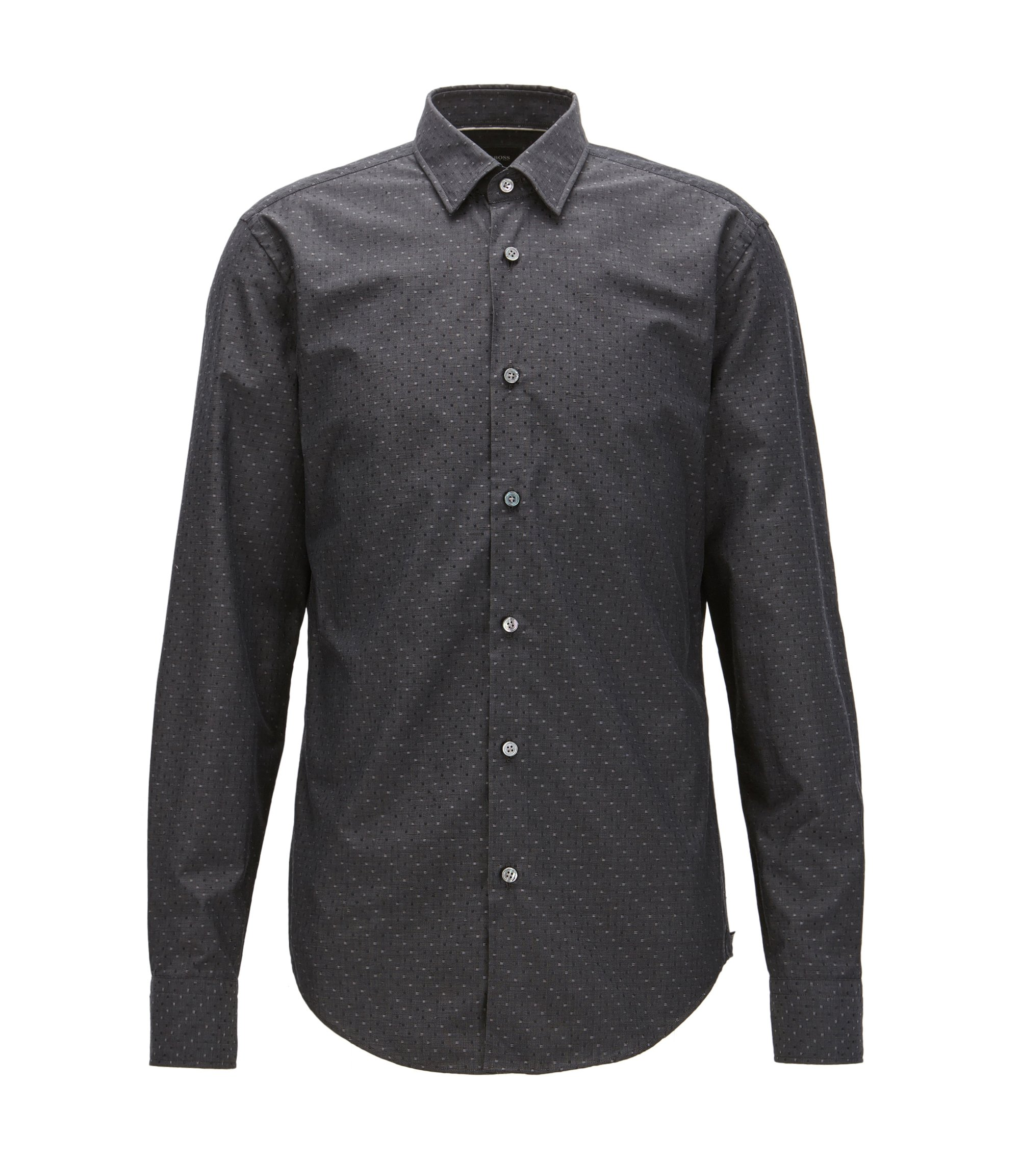 Box-Pattern Cotton-Silk Sport Shirt, Slim Fit | T-Riccardo F, Dark Grey