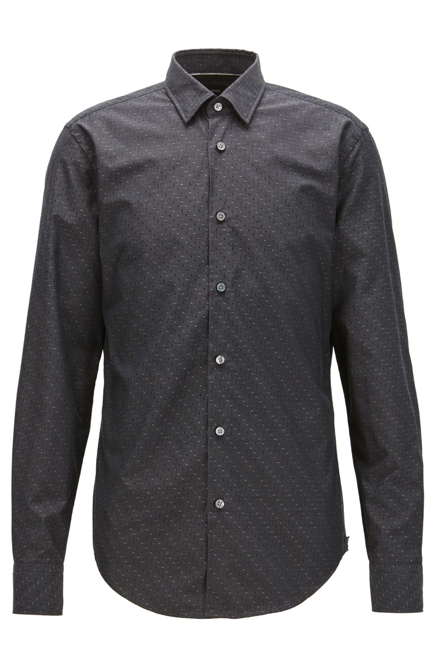 Box-Pattern Cotton-Silk Sport Shirt, Slim Fit | T-Riccardo F