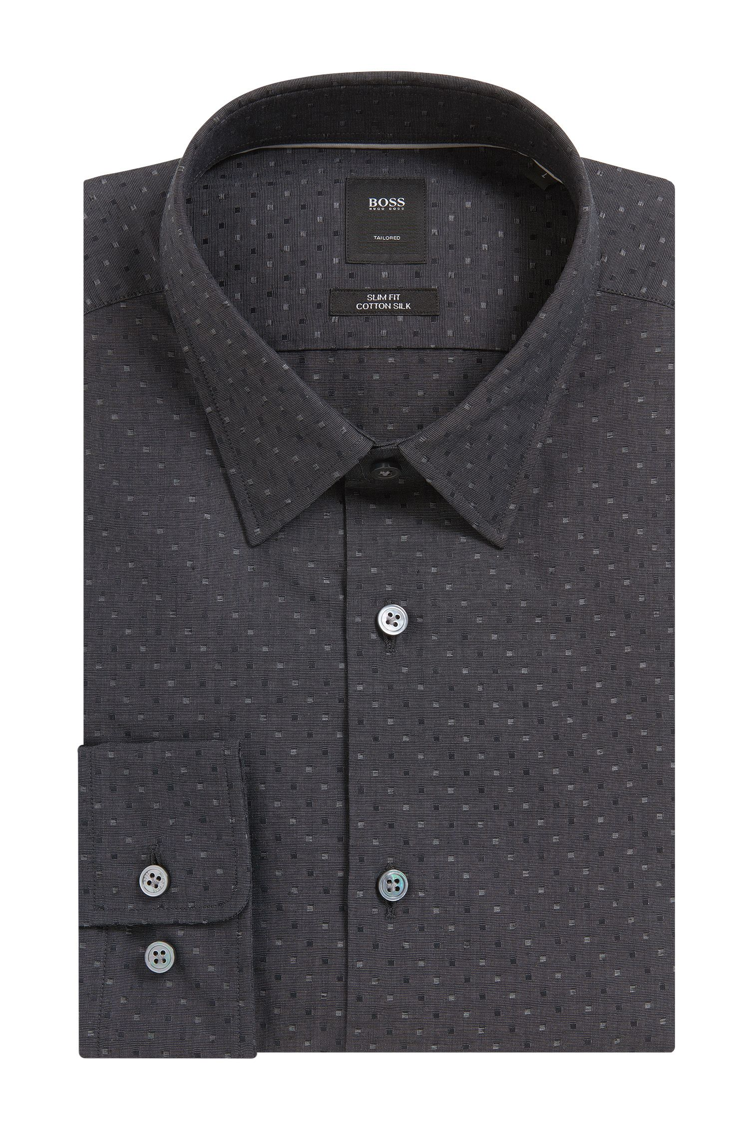 Box-Pattern Cotton-Silk Sport Shirt, Slim Fit | T-Riccardo F