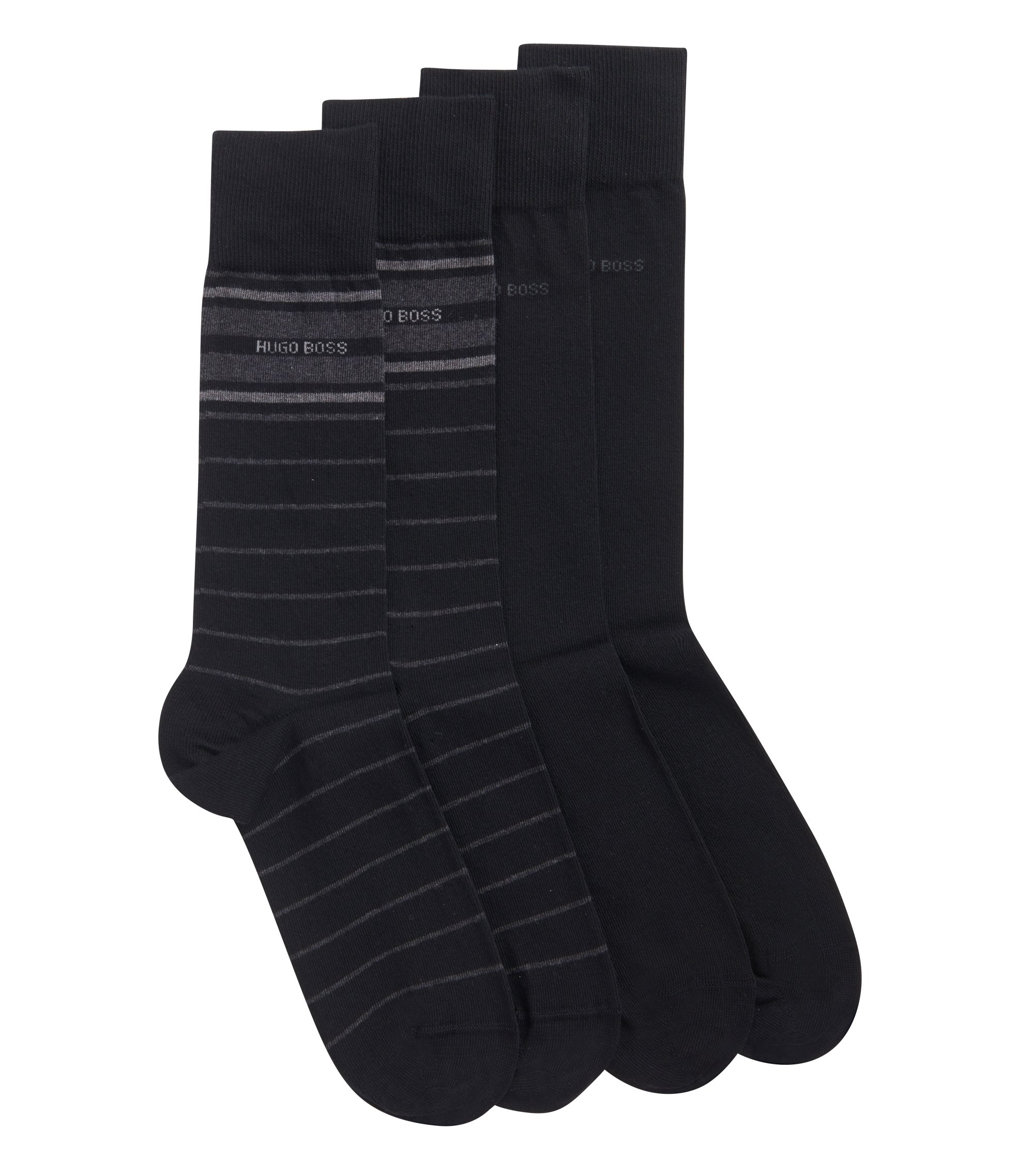 Stretch Cotton Socks, 2 Pack | 2P RS Stripe US CC, Black