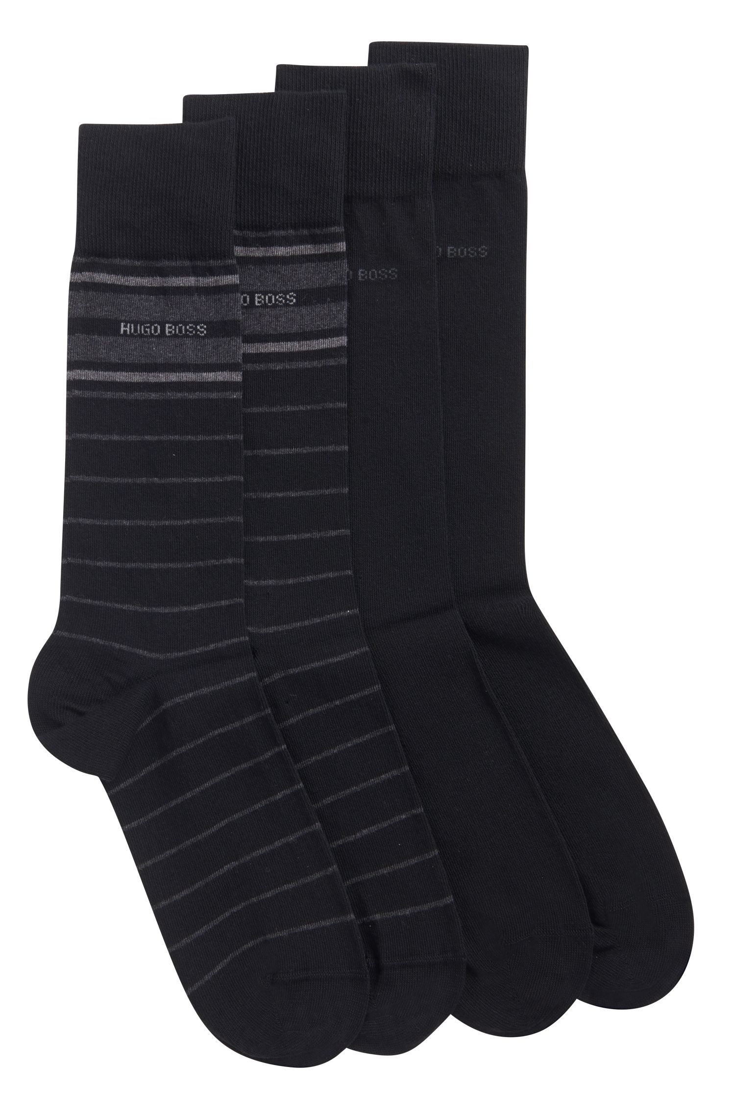 Stretch Cotton Socks, 2 Pack | 2P RS Stripe US CC, Black