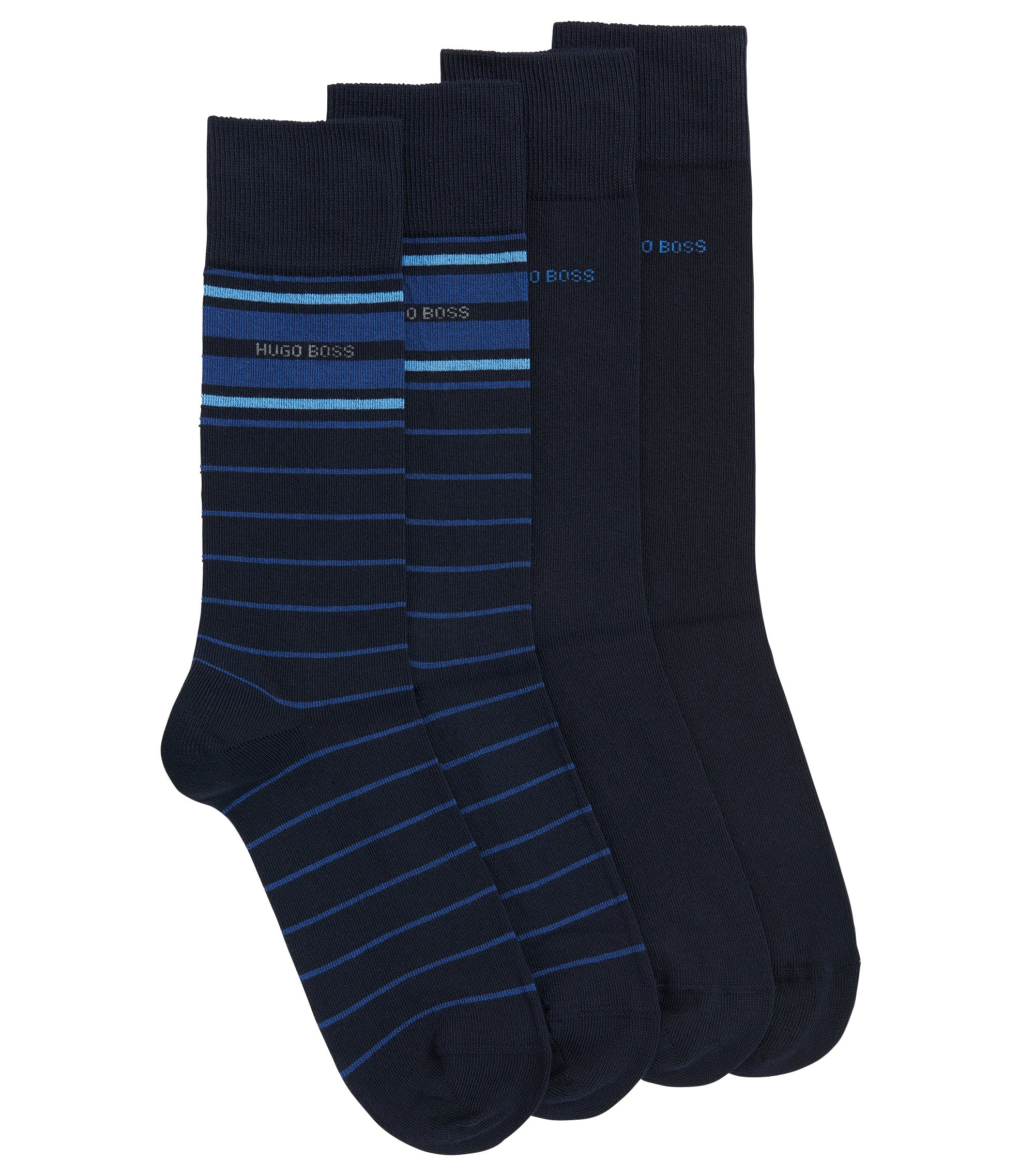 Stretch Cotton Socks, 2 Pack | 2P RS Stripe US CC, Dark Blue