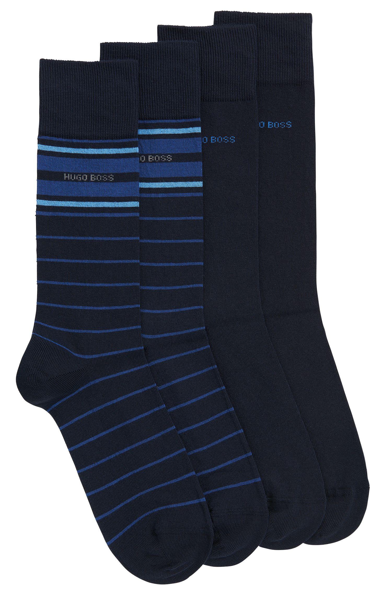Stretch Cotton Socks, 2 Pack | 2P RS Stripe US CC, Dark Blue