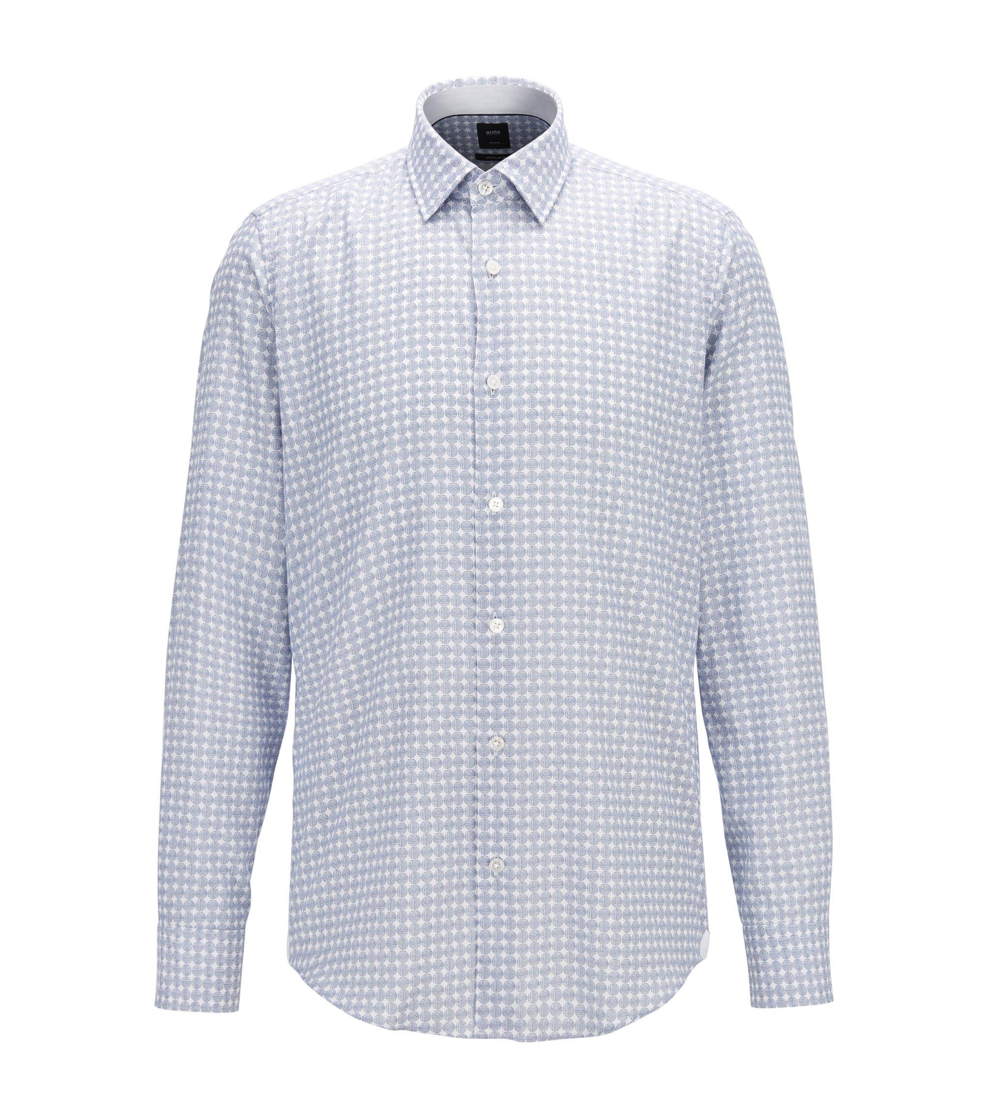 Circle-Print Flannel Sport Shirt, Regular Fit | T-Landon, Dark Blue