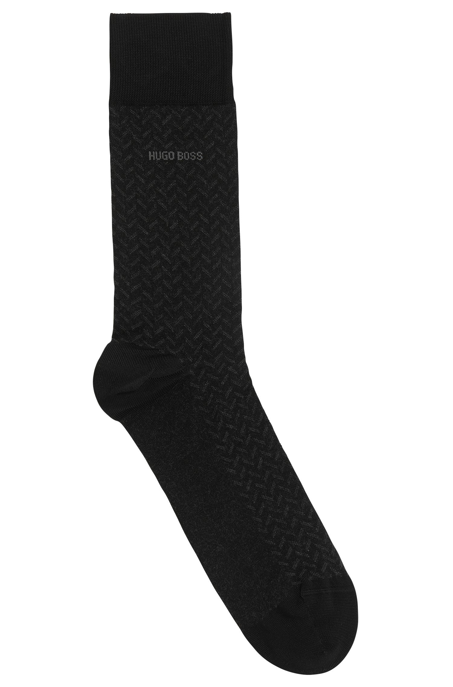 Chevron Striped Stretch Cotton Socks | RS MiniPattern US MC, Black