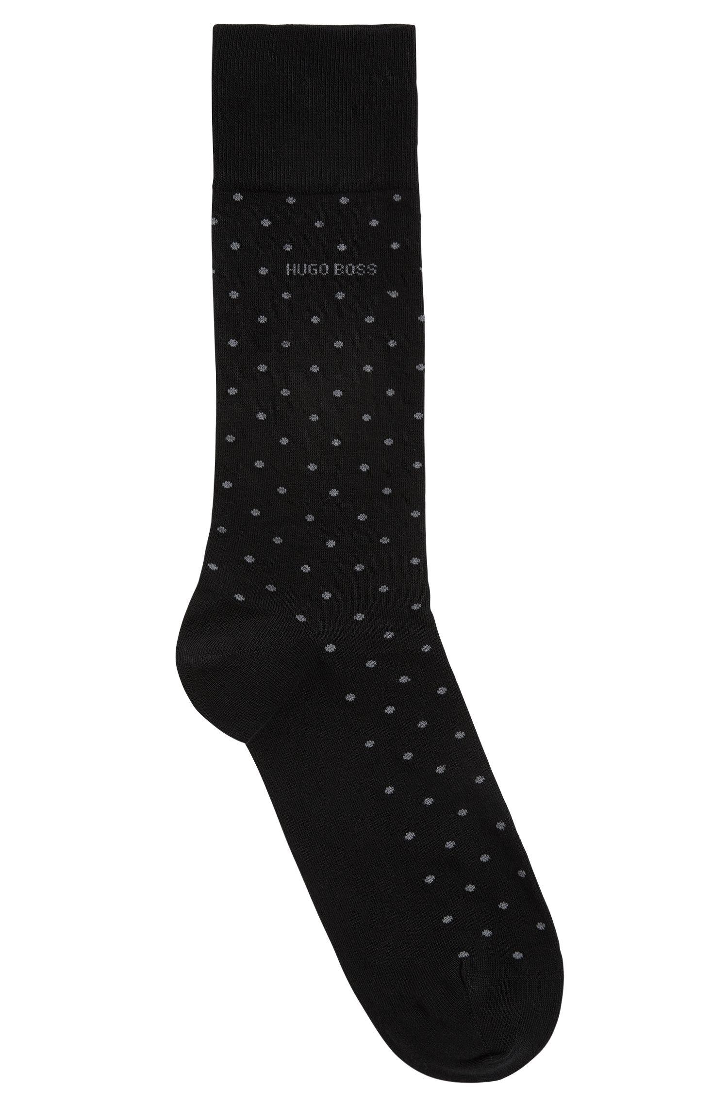 Dotted Stretch Cotton Socks | RS Dot US CC, Black