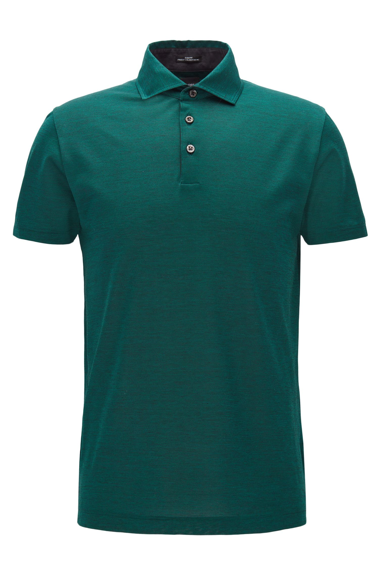 Jacquard Italian Cotton Polo Shirt, Slim Fit | T-Pryde, Open Green