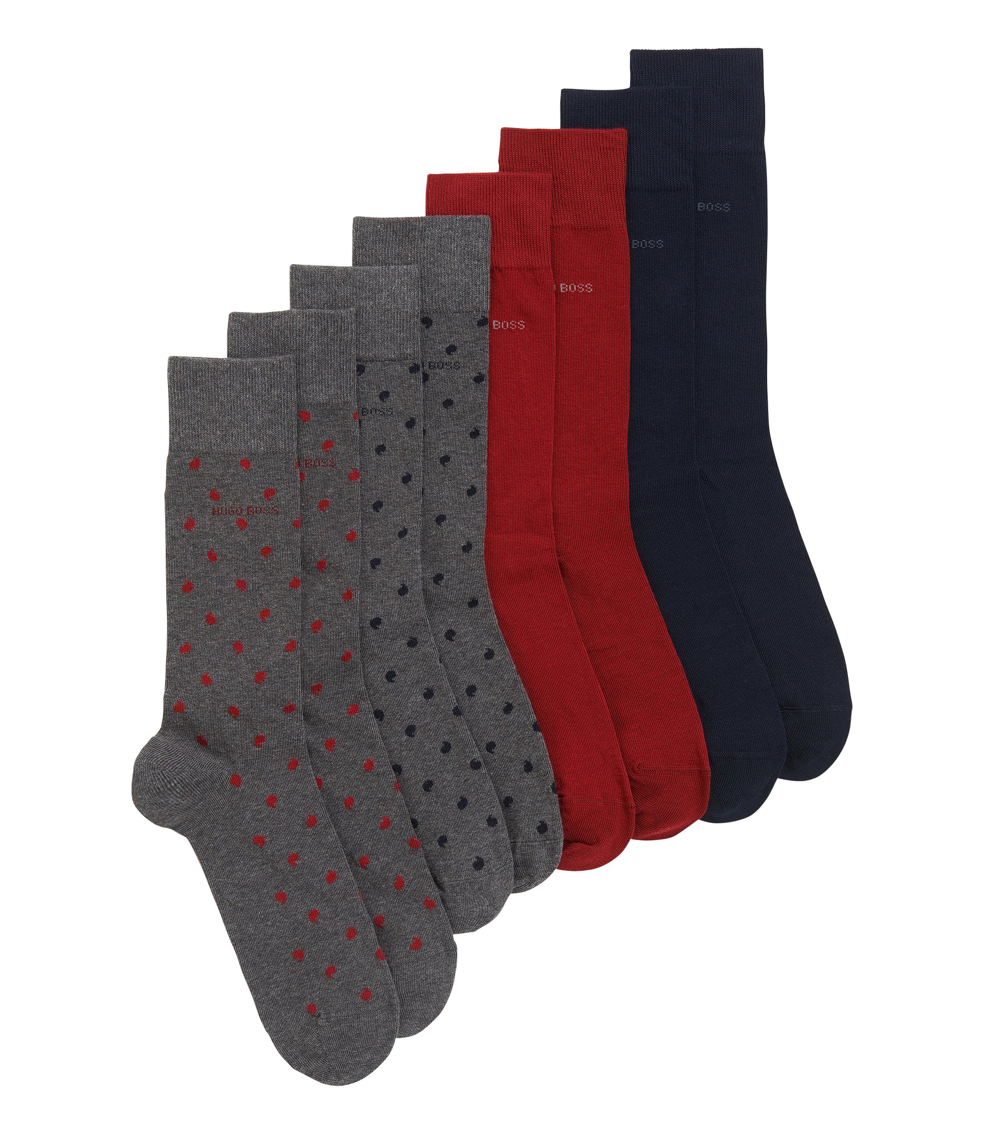 Stretch Cotton Socks Gift Set | 4P RS Gift Set US CC, Dark Blue