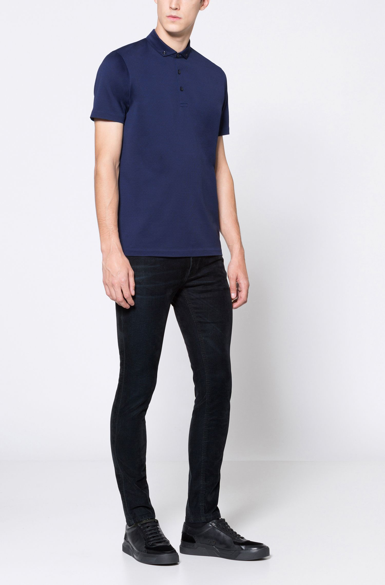 Jacquard Mercerized Cotton Polo Shirt, Regular Fit   Dogart, Dark Blue
