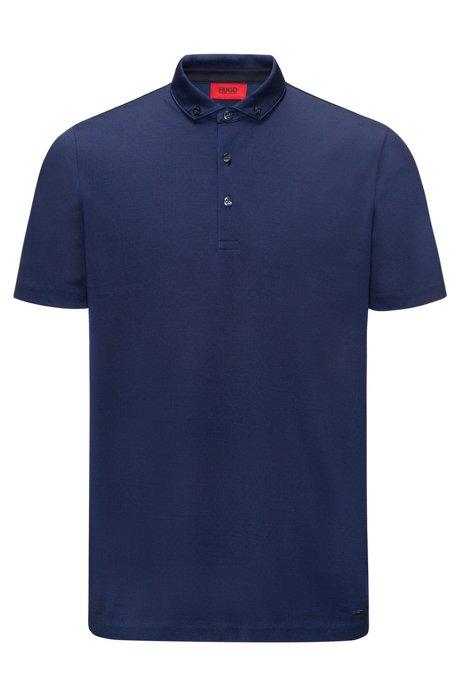 bdb7a588 Jacquard Mercerized Cotton Polo Shirt, Regular Fit | Dogart, Dark Blue