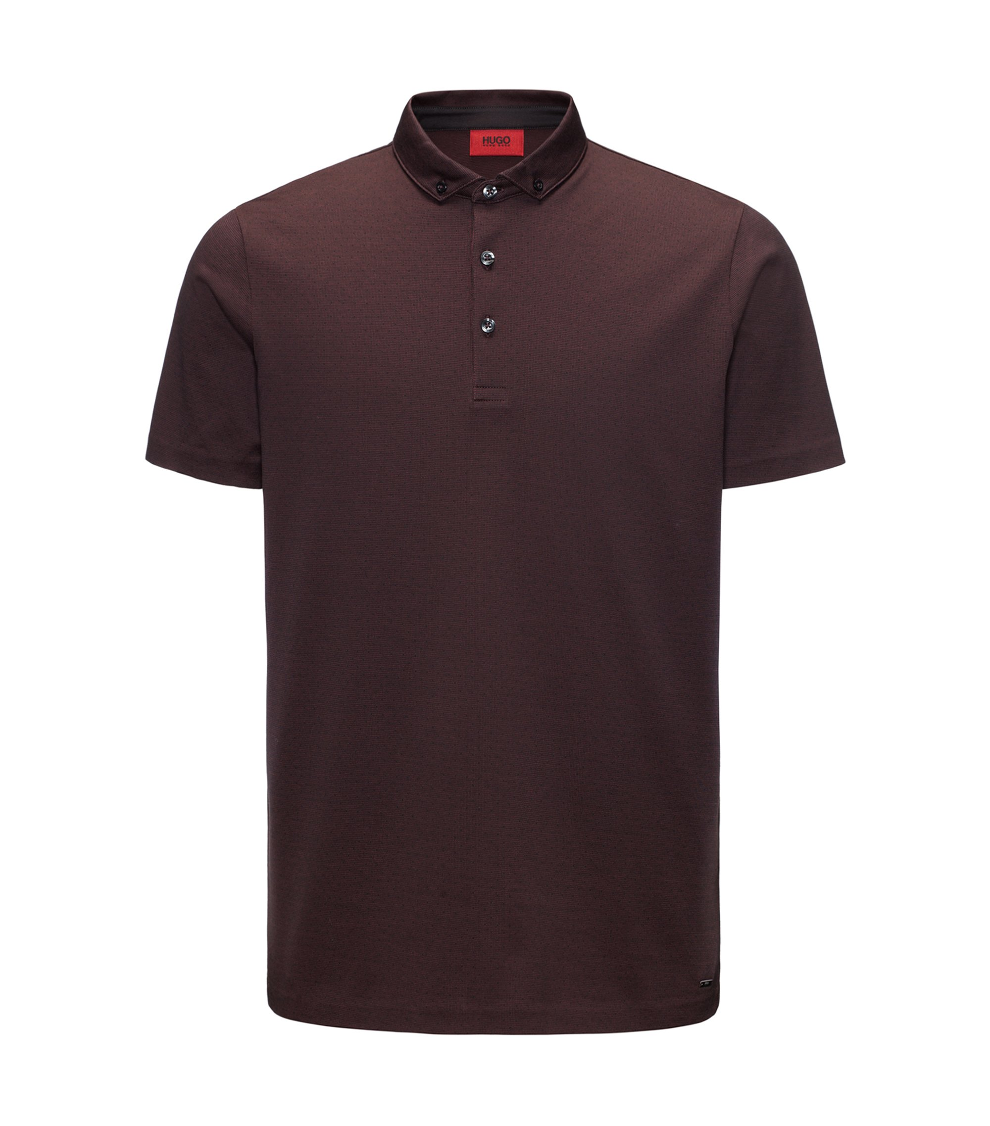 Jacquard Mercerized Cotton Polo Shirt, Regular Fit | Dogart, Dark Red