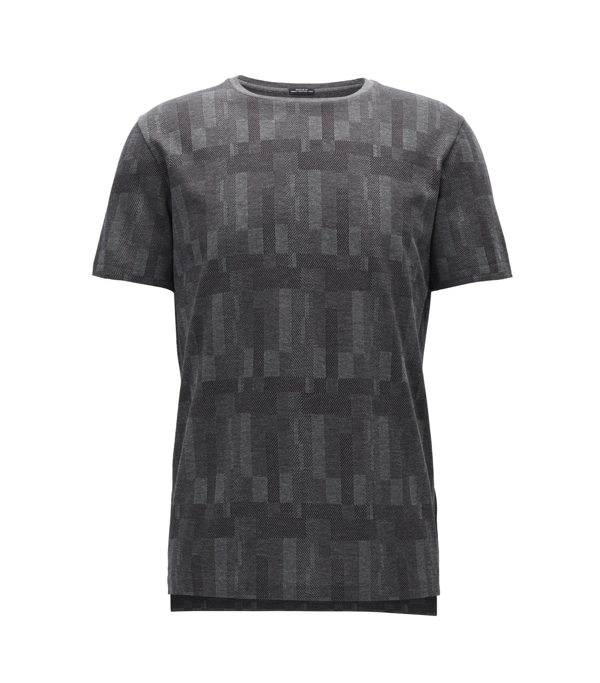 Patterned Egyptian Cotton T-Shirt | Tiburt, Grey