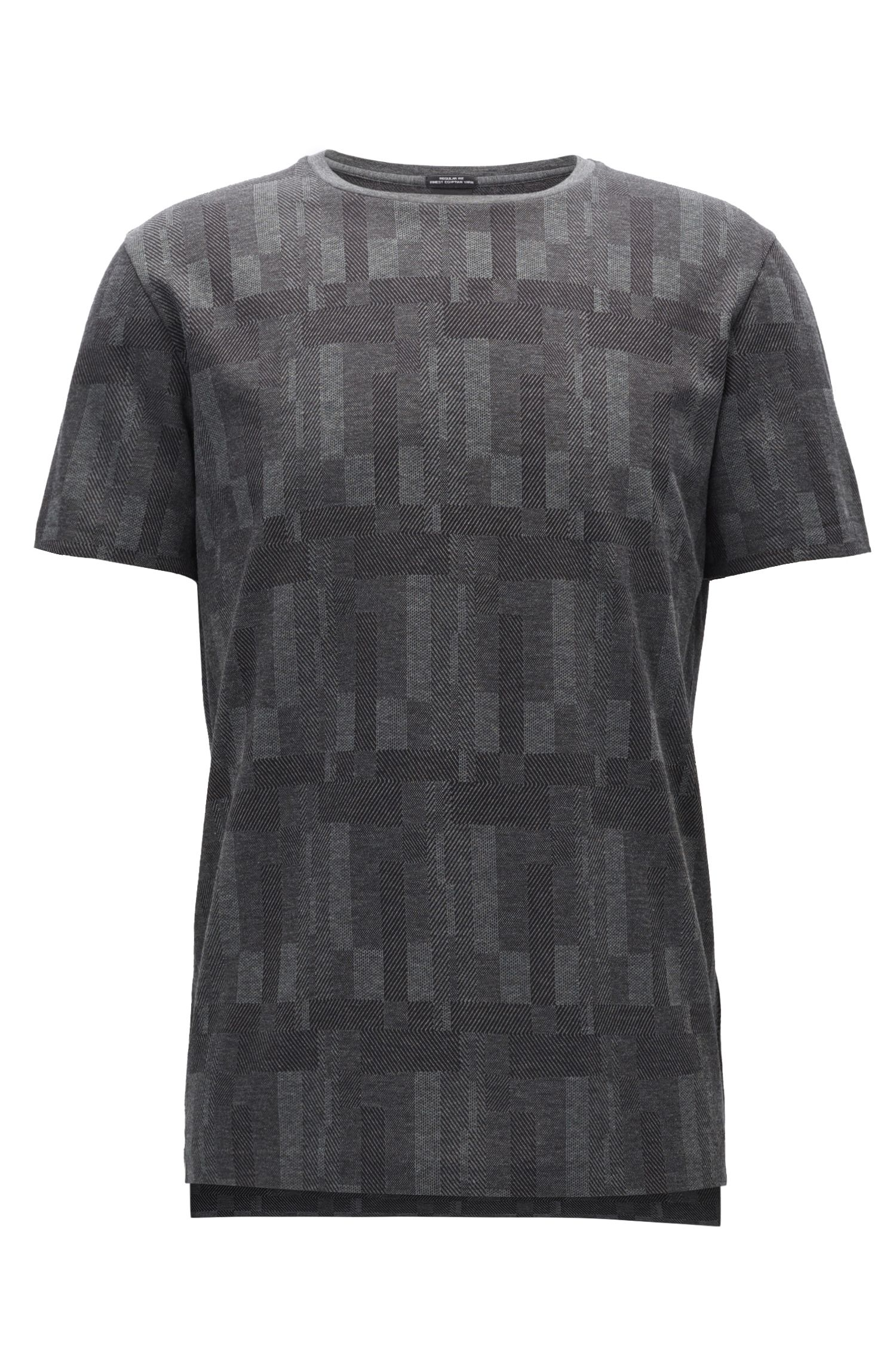 Patterned Egyptian Cotton T-Shirt | Tiburt, Grey