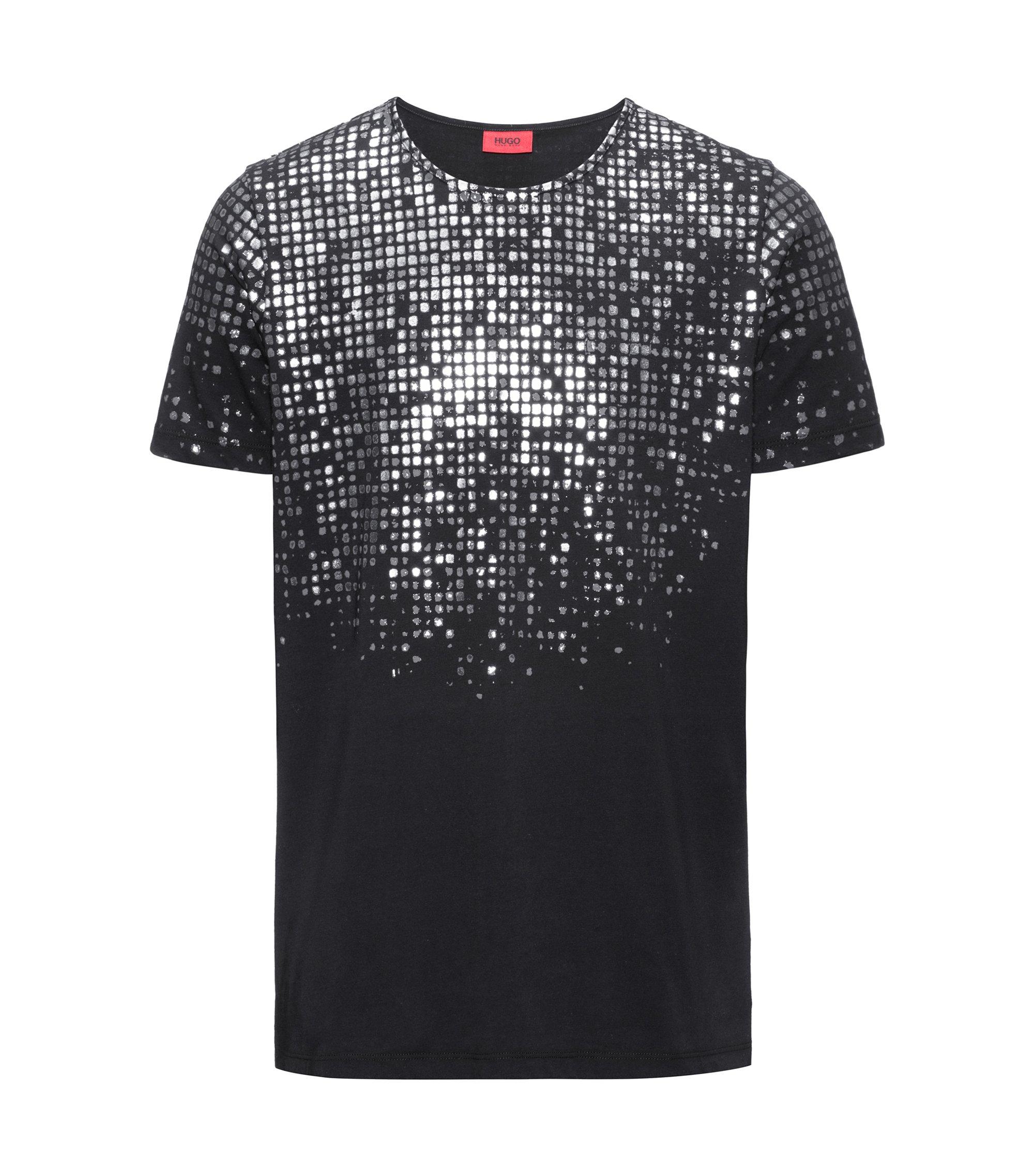 Foil-Print Cotton T-Shirt   Dilver, Black