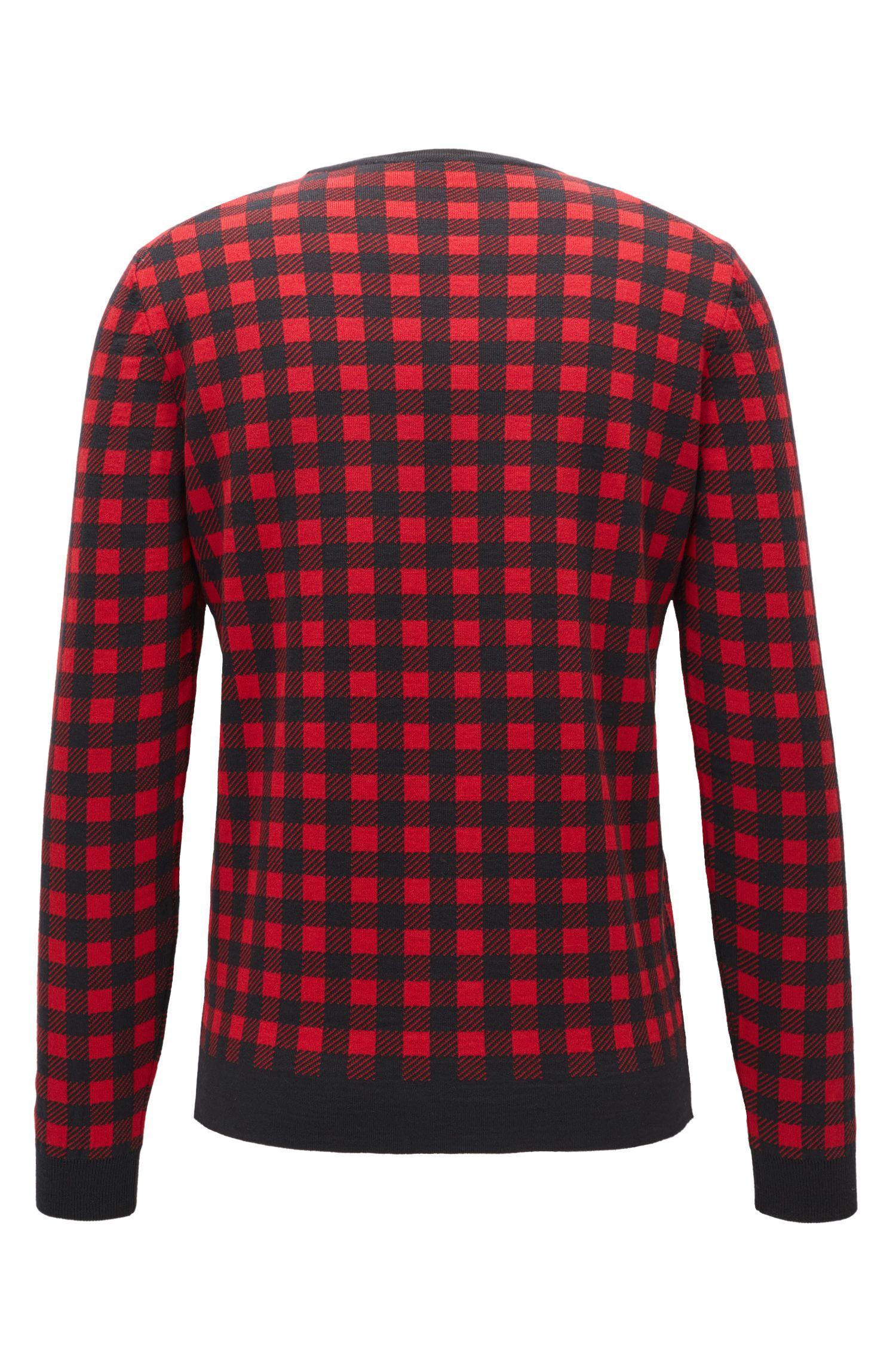 Sheperd's Check Virgin Wool Sweater | Palino, Red