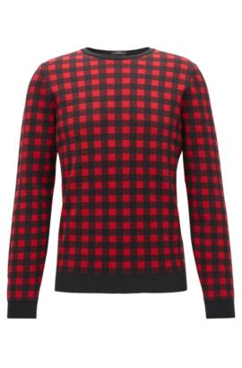 Sheperd's Check Virgin Wool Sweater | Palino, Red