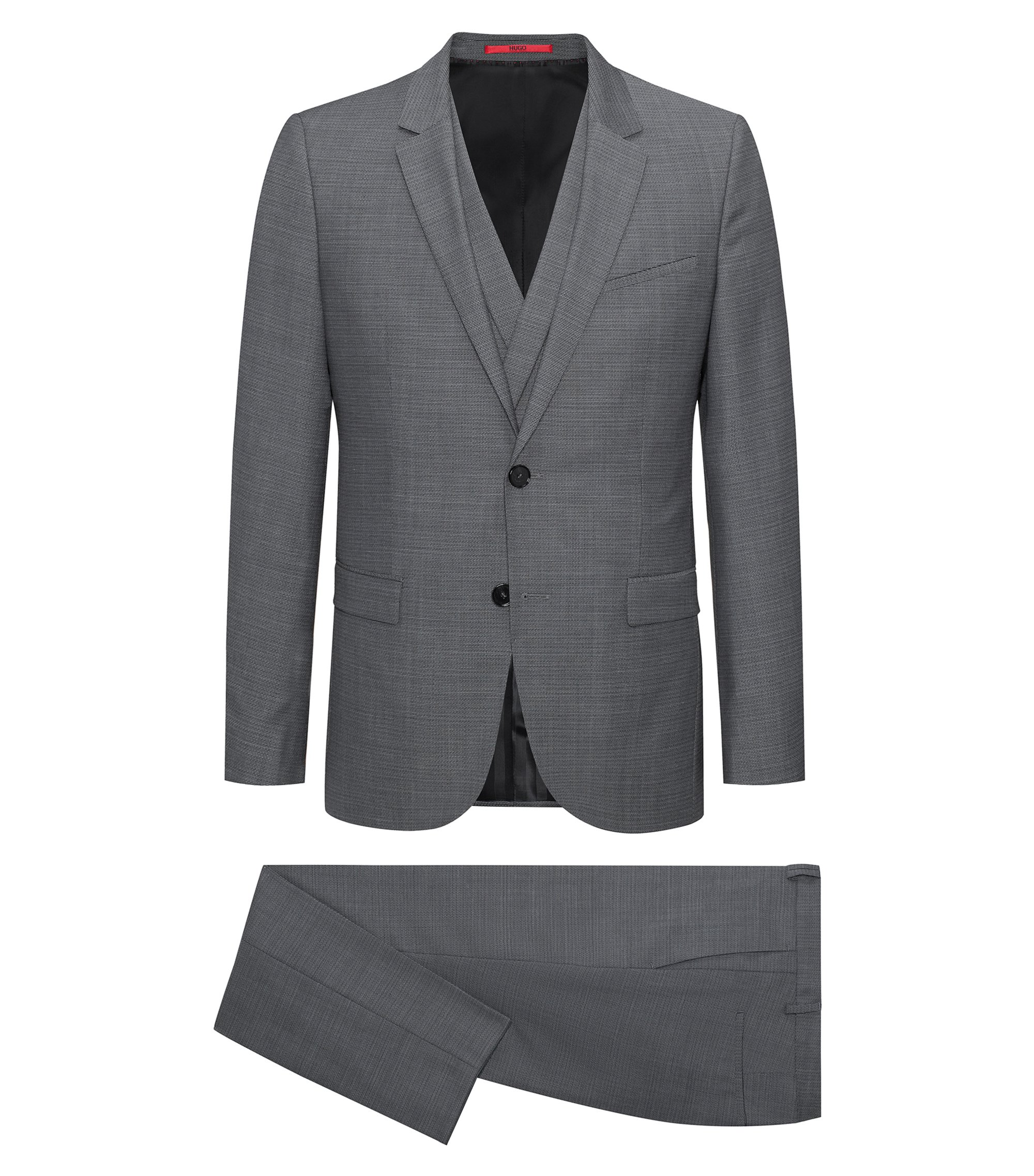 Super 100s Virgin Wool 3-Piece Suit, Extra Slim Fit | Admon/Wilms/Hesten, Grey