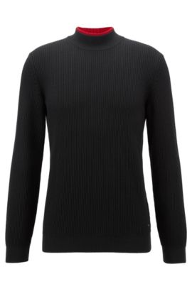Virgin Wool Turtleneck Sweater | Passione, Black