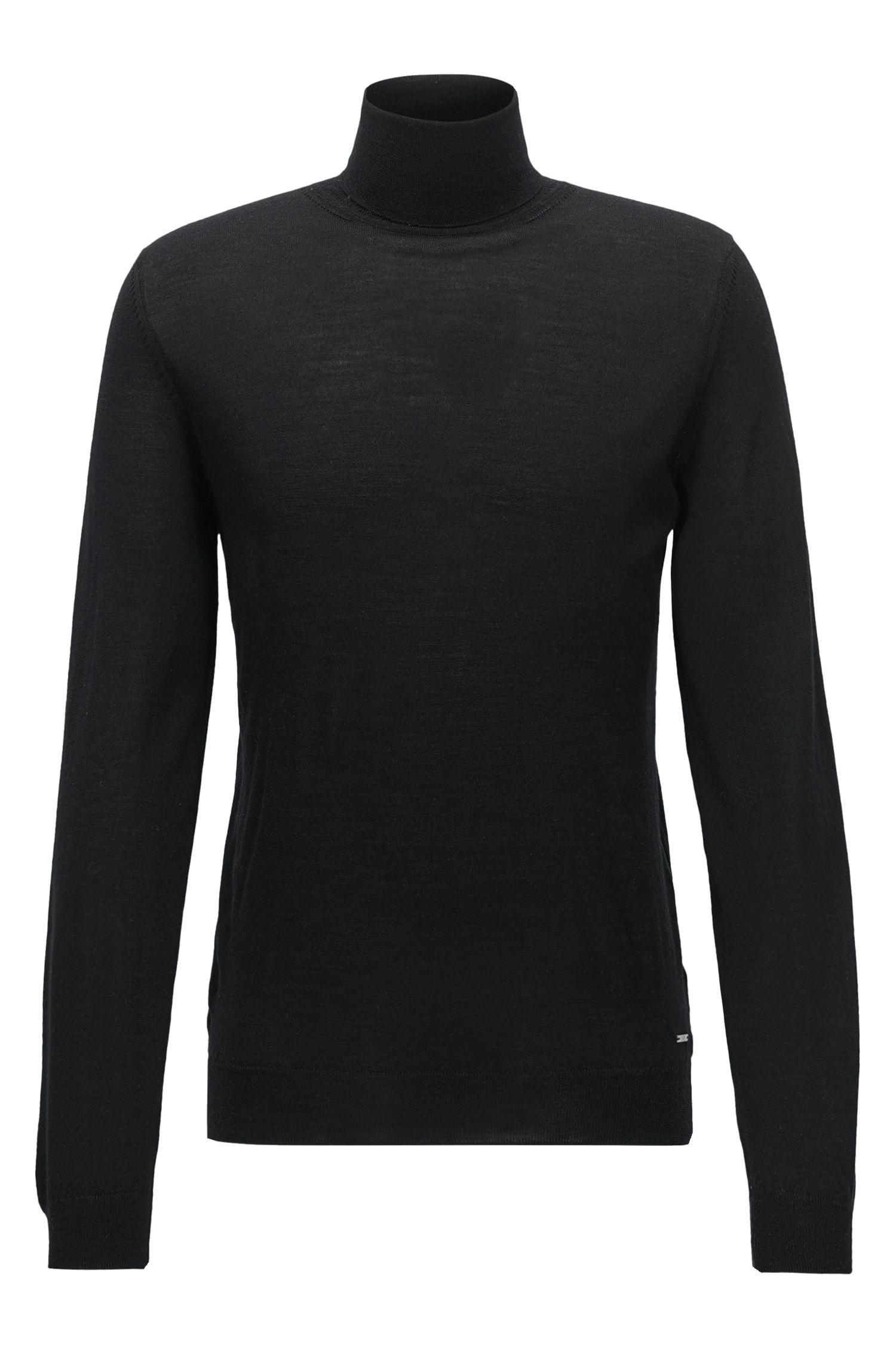 Virgin Wool Silk Turtleneck Sweater | T-Pinello, Black