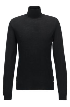 Virgin Wool Silk Turtleneck Sweater | T-Pinello, Black