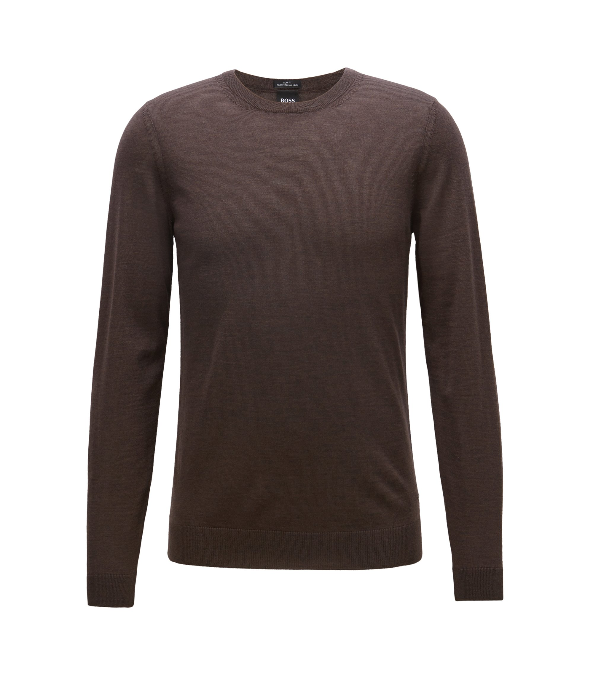 Crew-neck sweater in virgin wool, Dark Brown