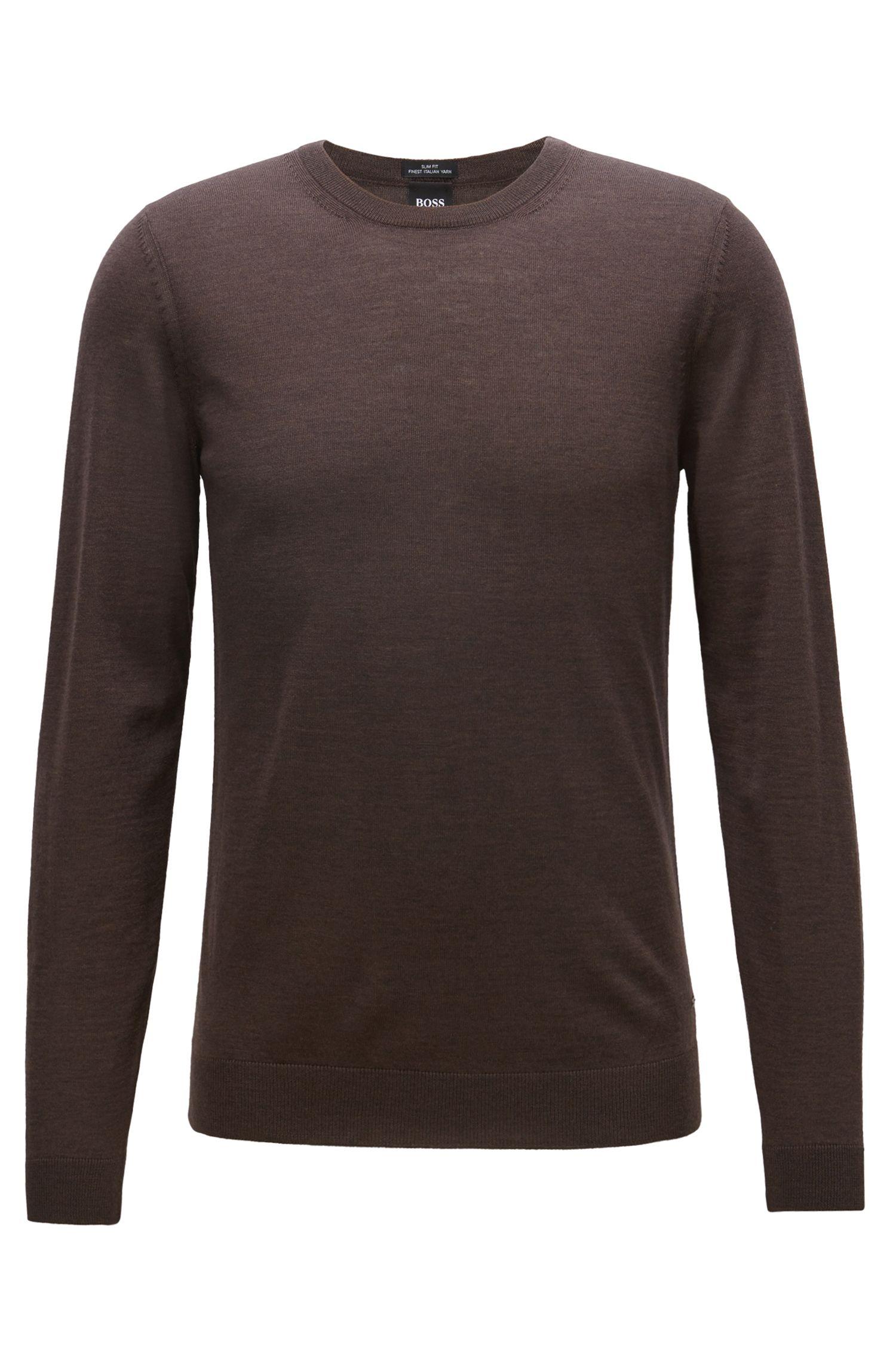 Crew-neck sweater in virgin wool, Dark Brown