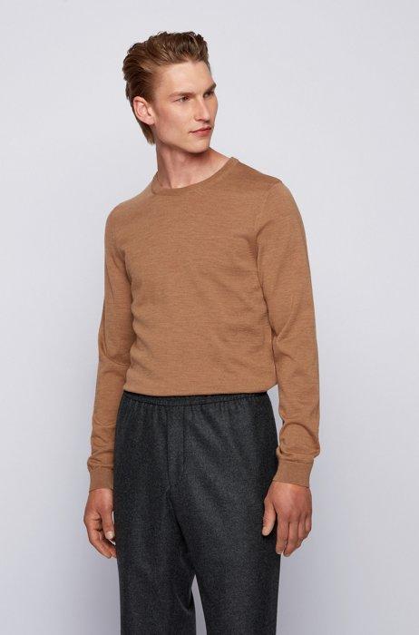 Crew-neck sweater in virgin wool, Beige