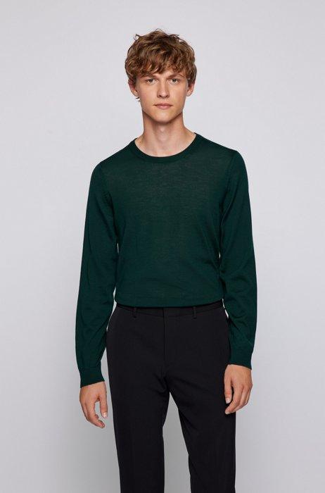 Crew-neck sweater in virgin wool, Dark Green