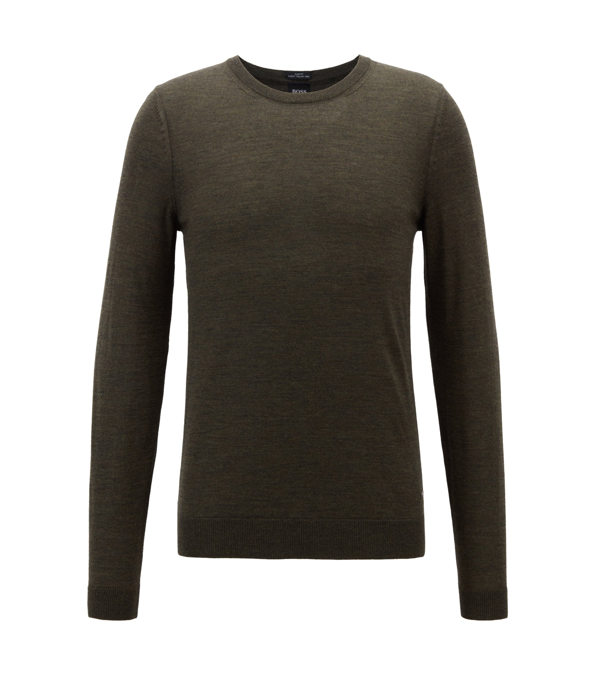 Crew-neck sweater in virgin wool, Open Green