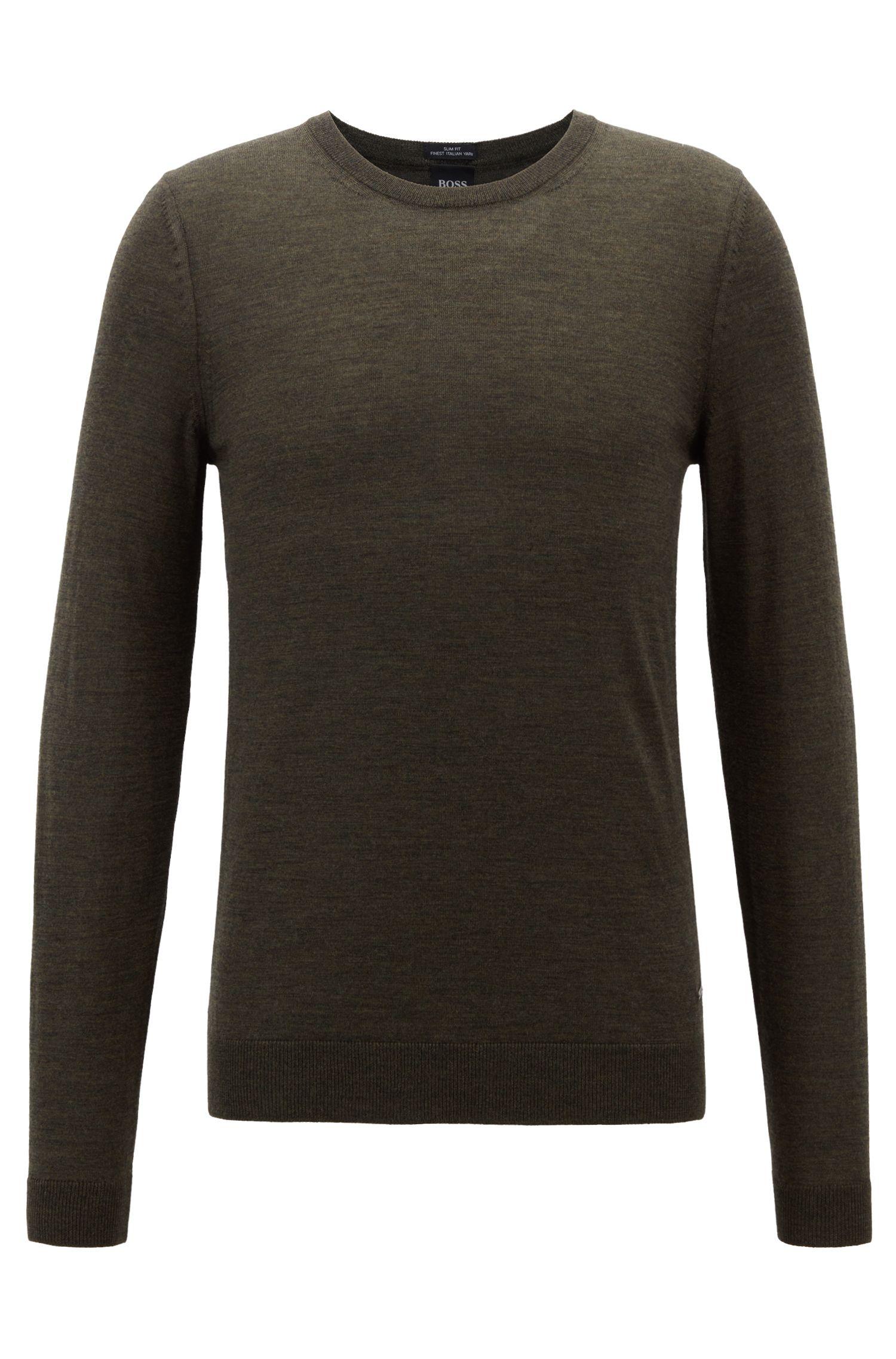 Crew-neck sweater in virgin wool, Open Green