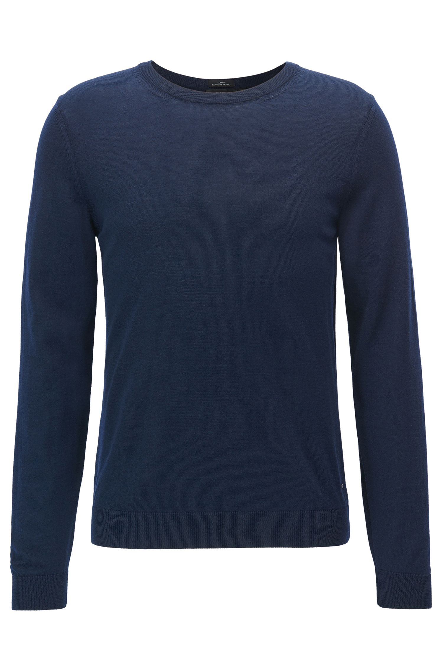 Crew-neck sweater in virgin wool, Dark Blue