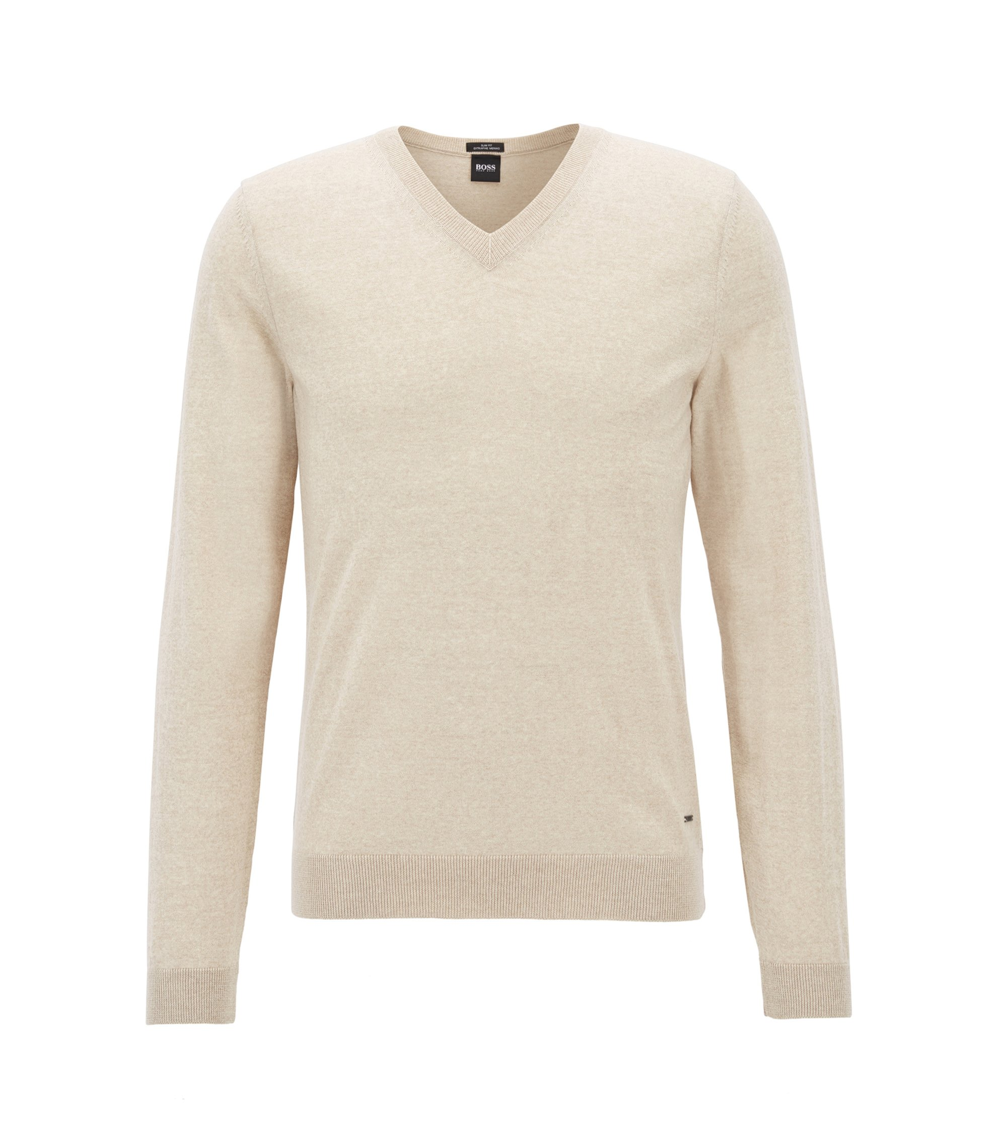 V-neck sweater in mulesing-free wool, Natural